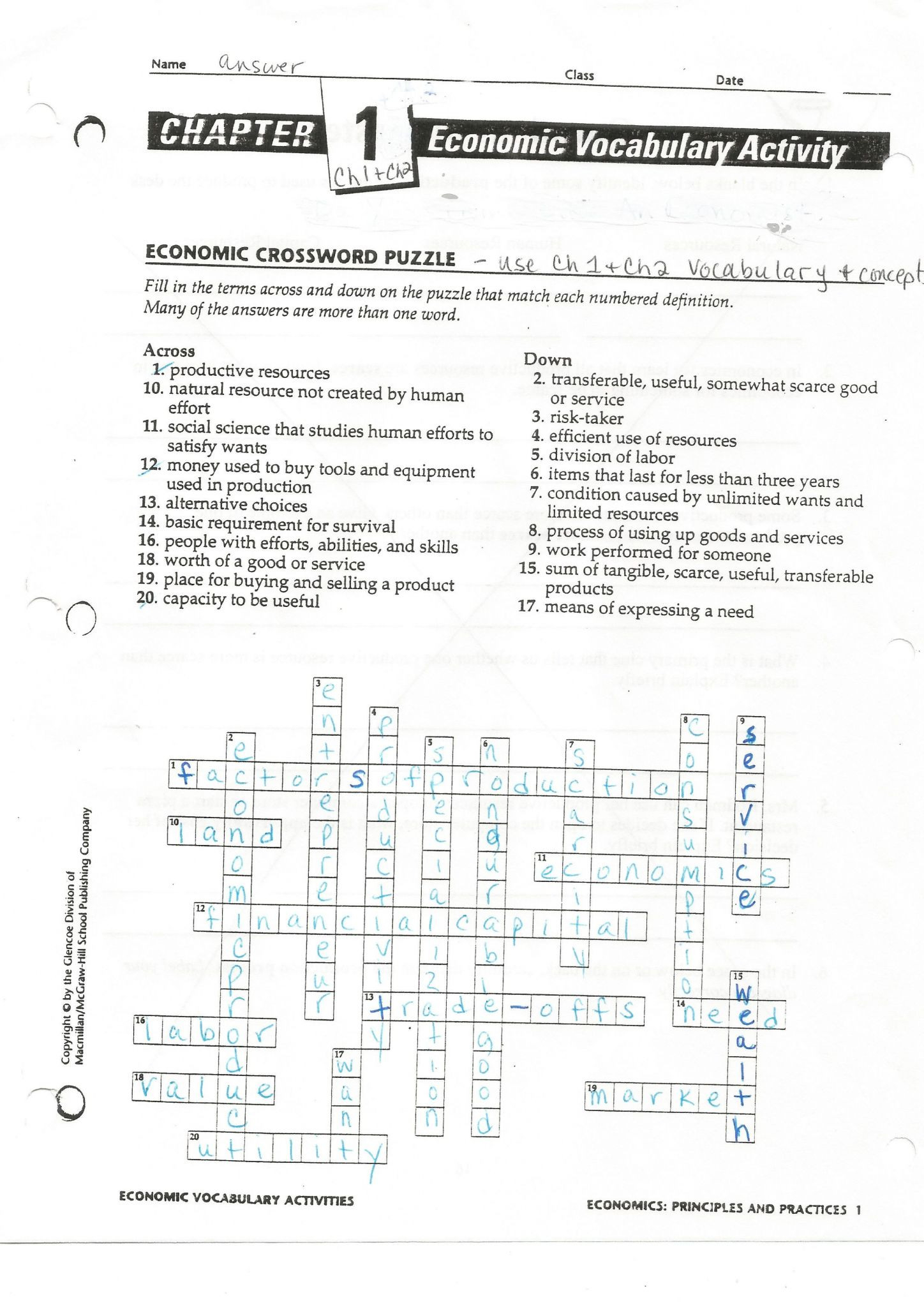 Cells Vocabulary Quiz Worksheet Answers