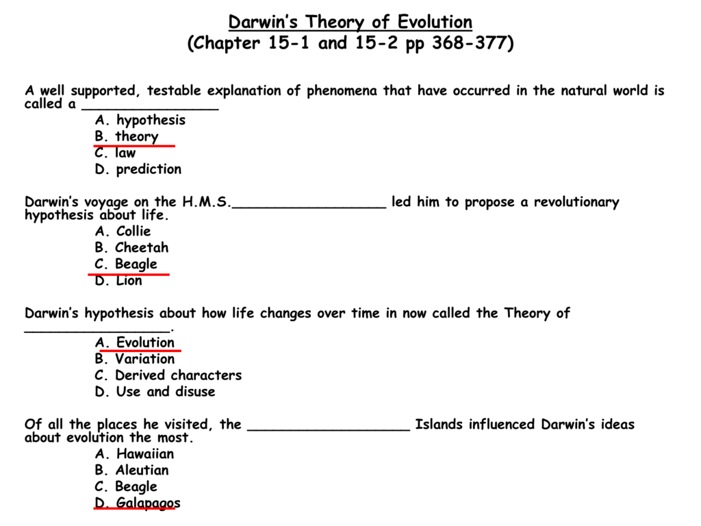 The Theory Of Evolution Chapter 15 Worksheet Answers Db Excel