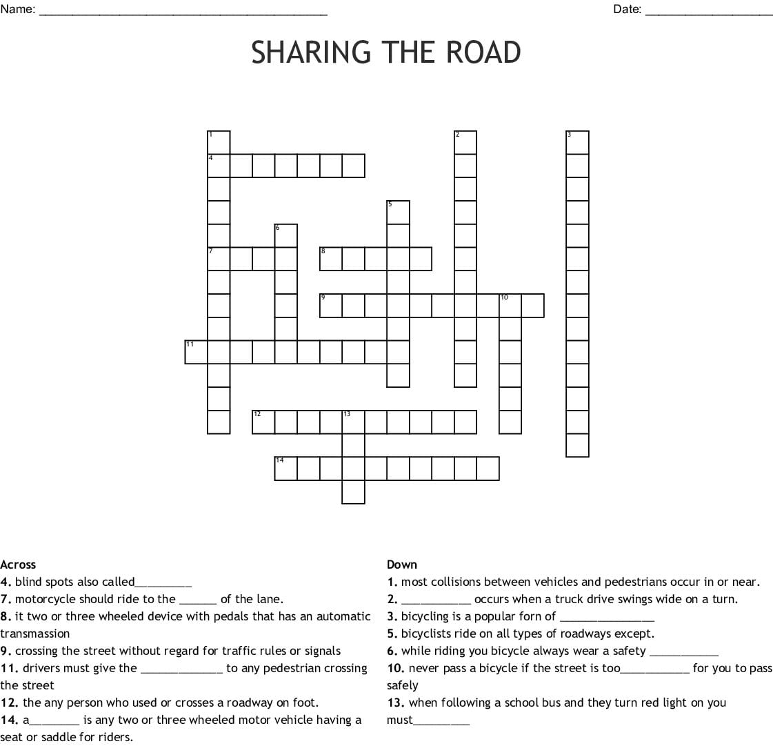 Chapter 2 Signs Signals And Roady Markings Crossword