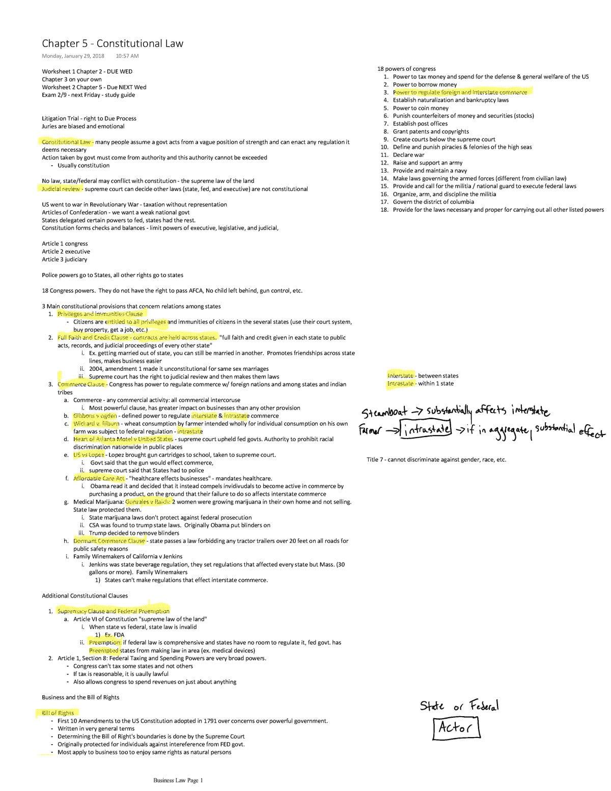 Bill Of Rights Amendments Worksheet