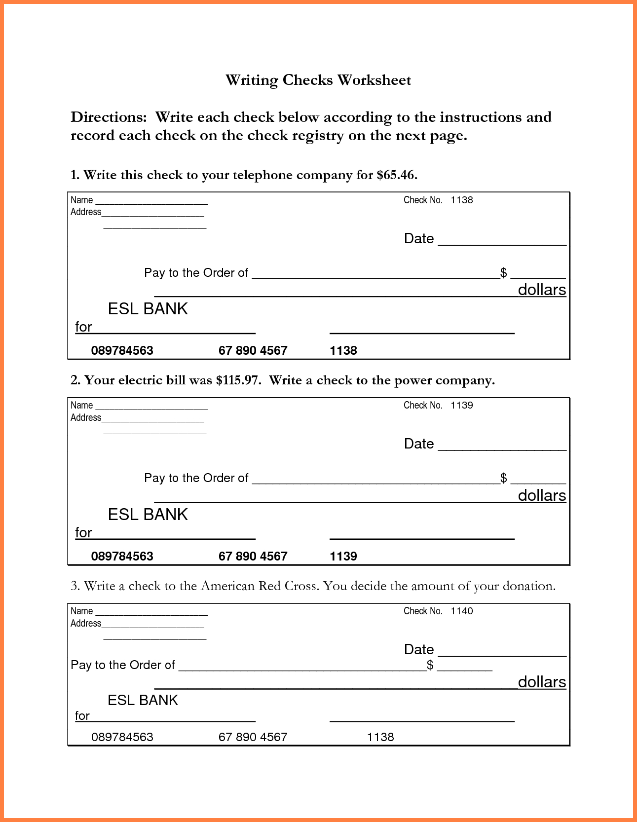 Checking Account Worksheets For Students
