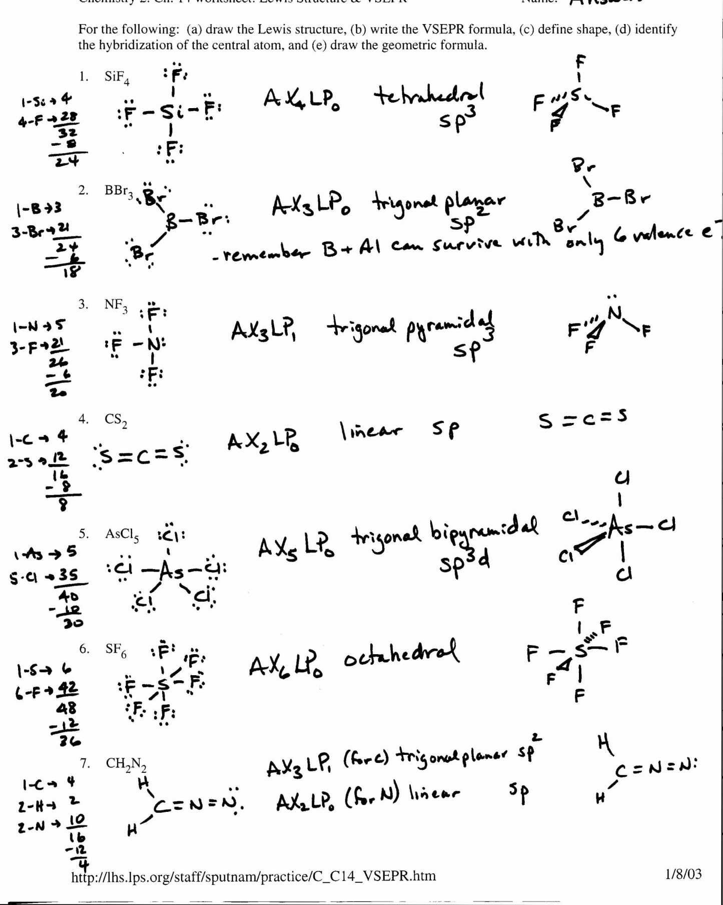 Chemistry Worksheet Lewis Dot Structures