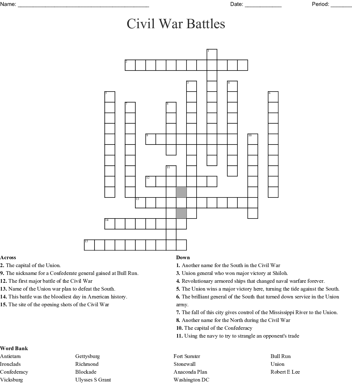 Civil War Battles Worksheet