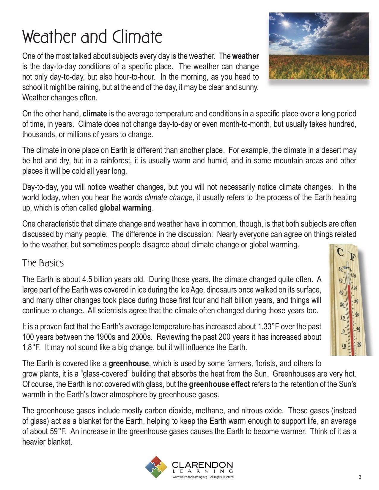 Climate Change Vocabulary Worksheet