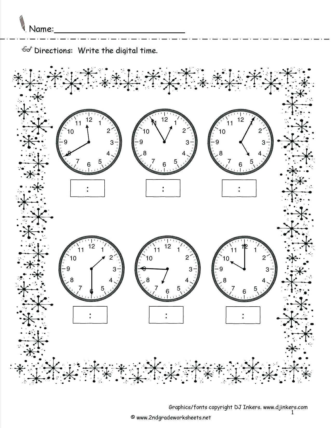 Clock Worksheets Grade 1