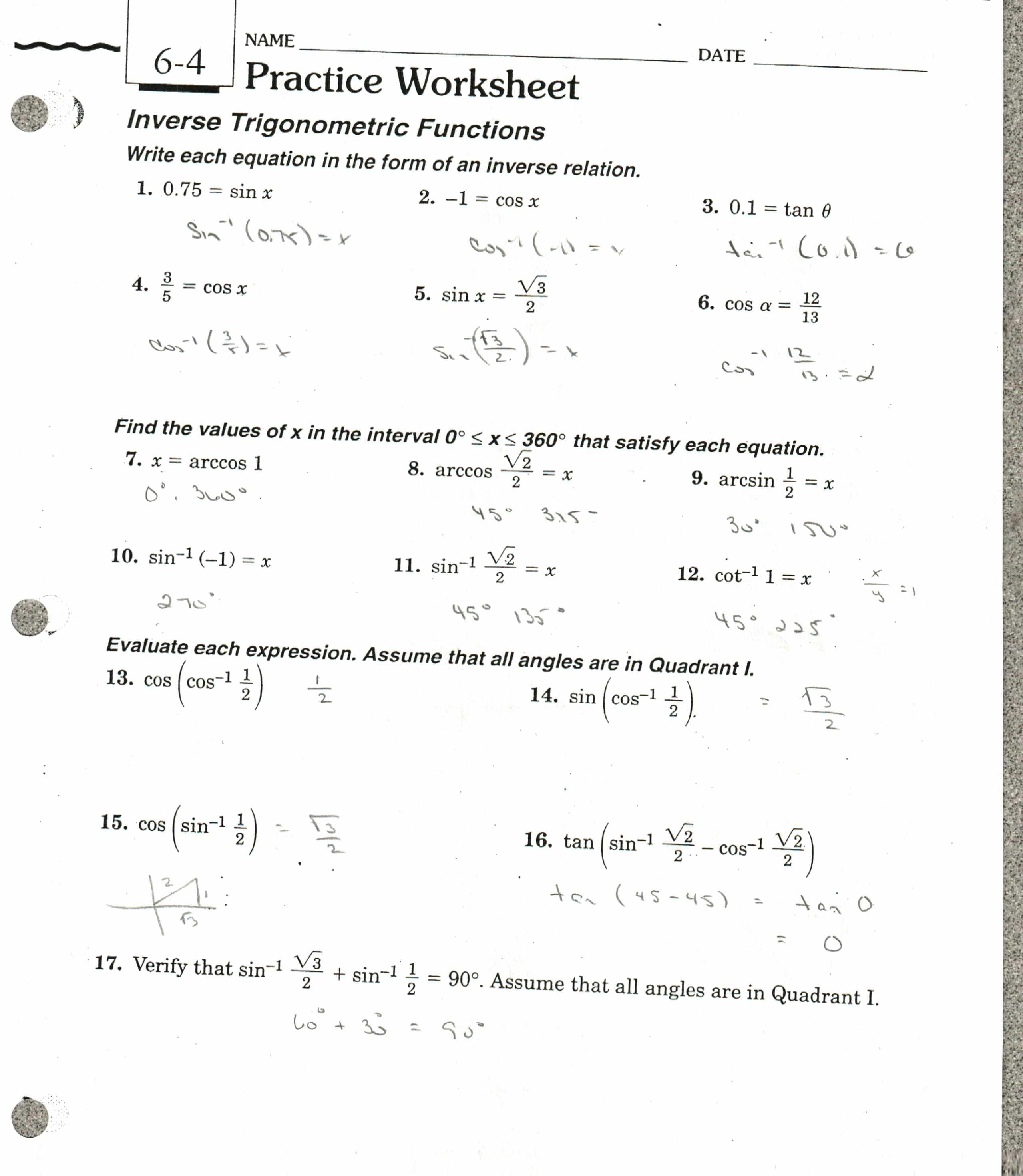 Comparing Functions Worksheet Practice Worksheet