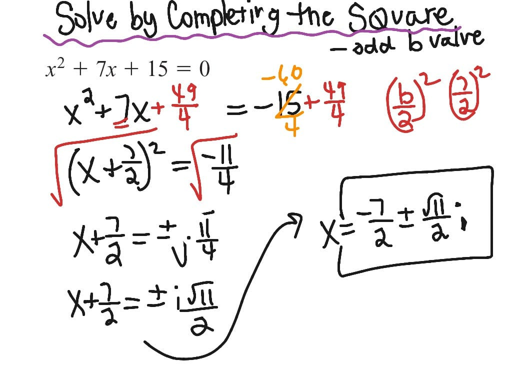 Completing The Square Odd B Value Imaginary Solution