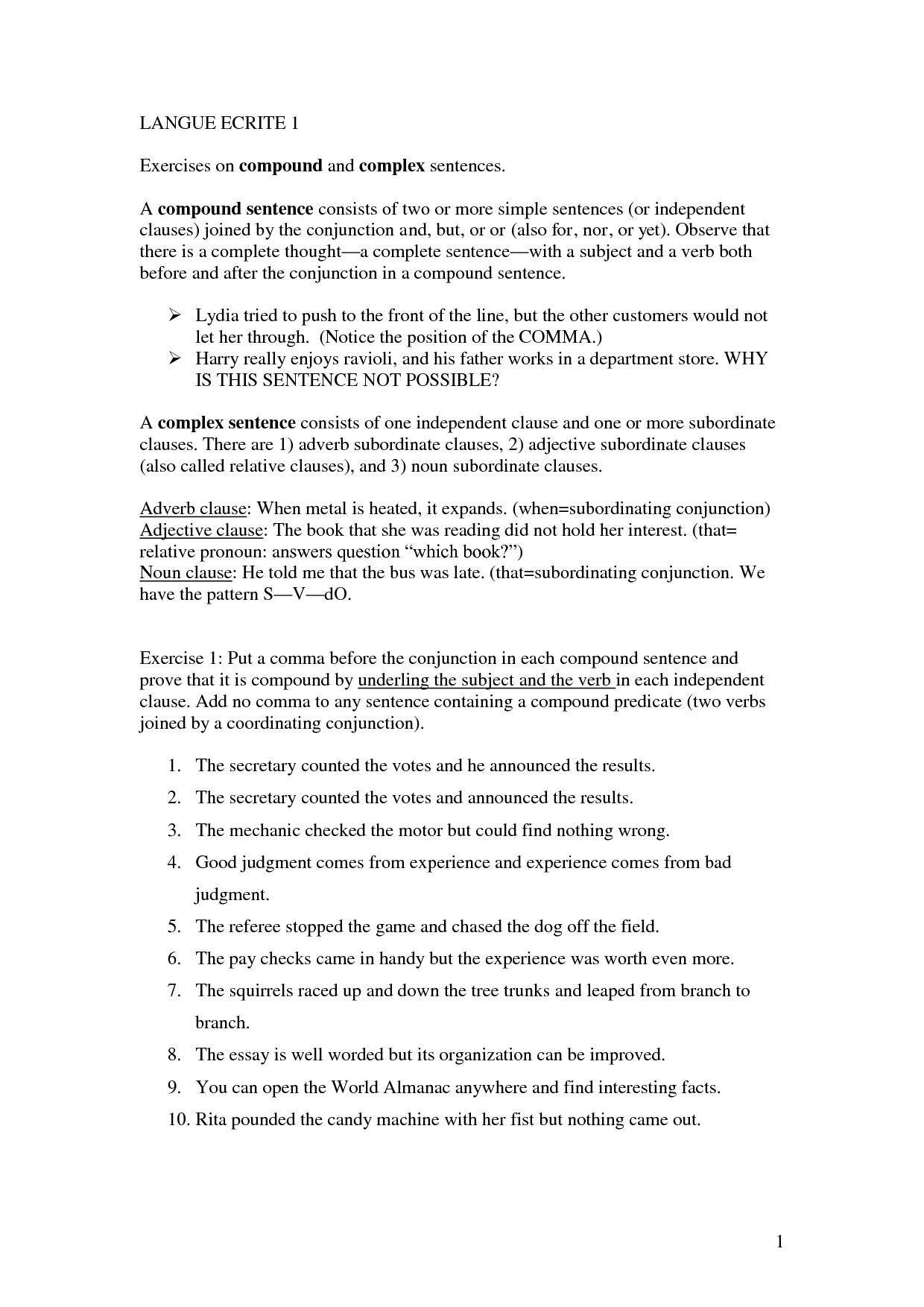 Compound Complex Sentences Worksheet Cinemas 93
