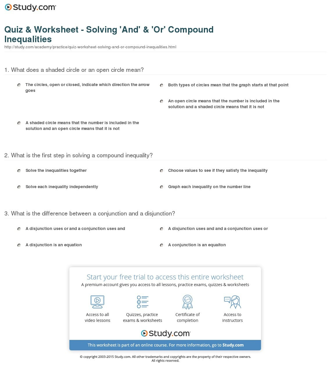 Graphing Compound Inequalities Worksheet