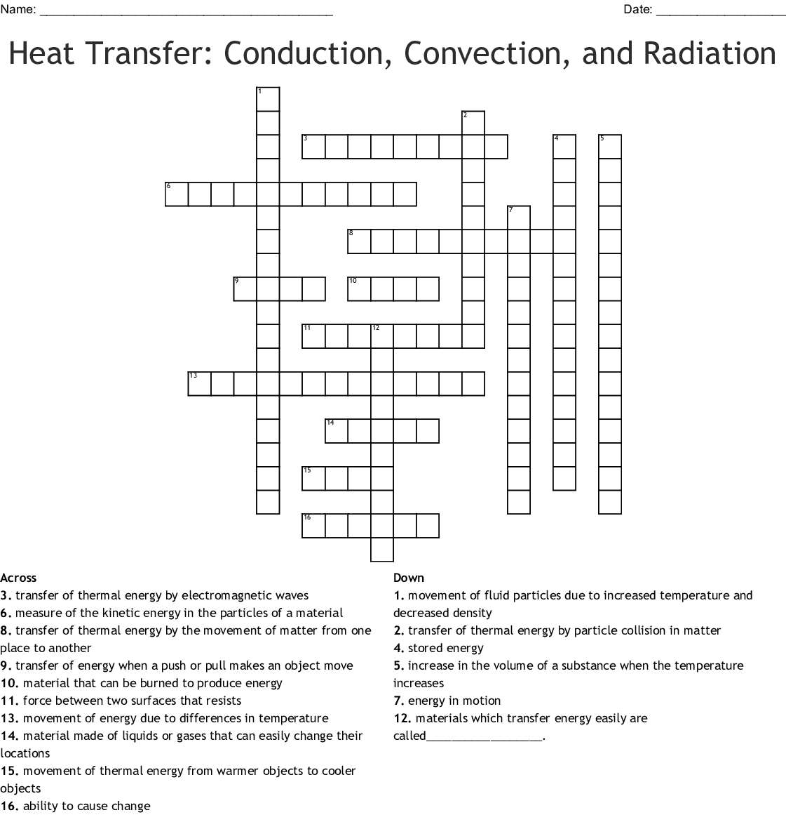 Conduction Convection And Radiation Crossword Word