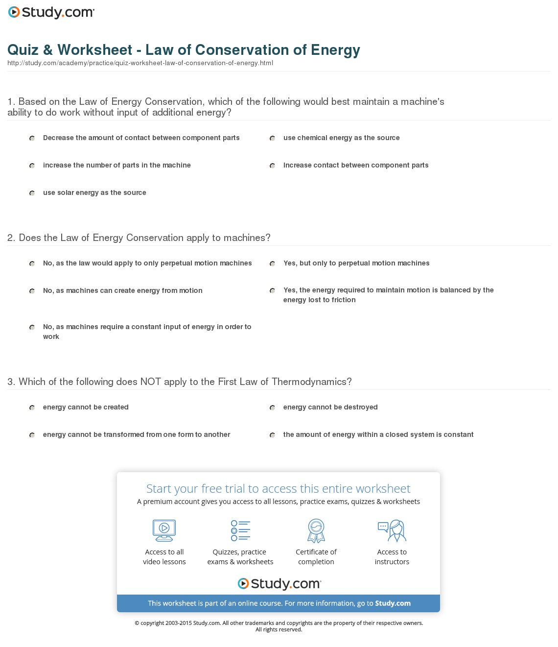 Conservation Of Energy Worksheet Answer Key Pre Algebra