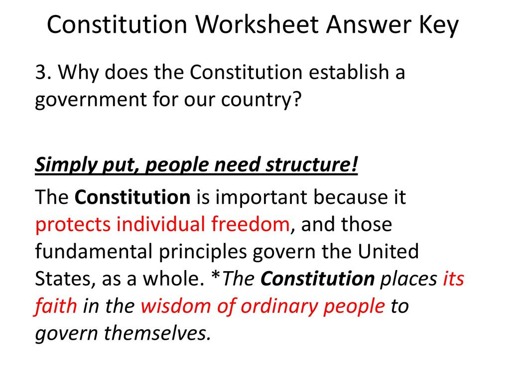 United States Constitution Worksheet Answers