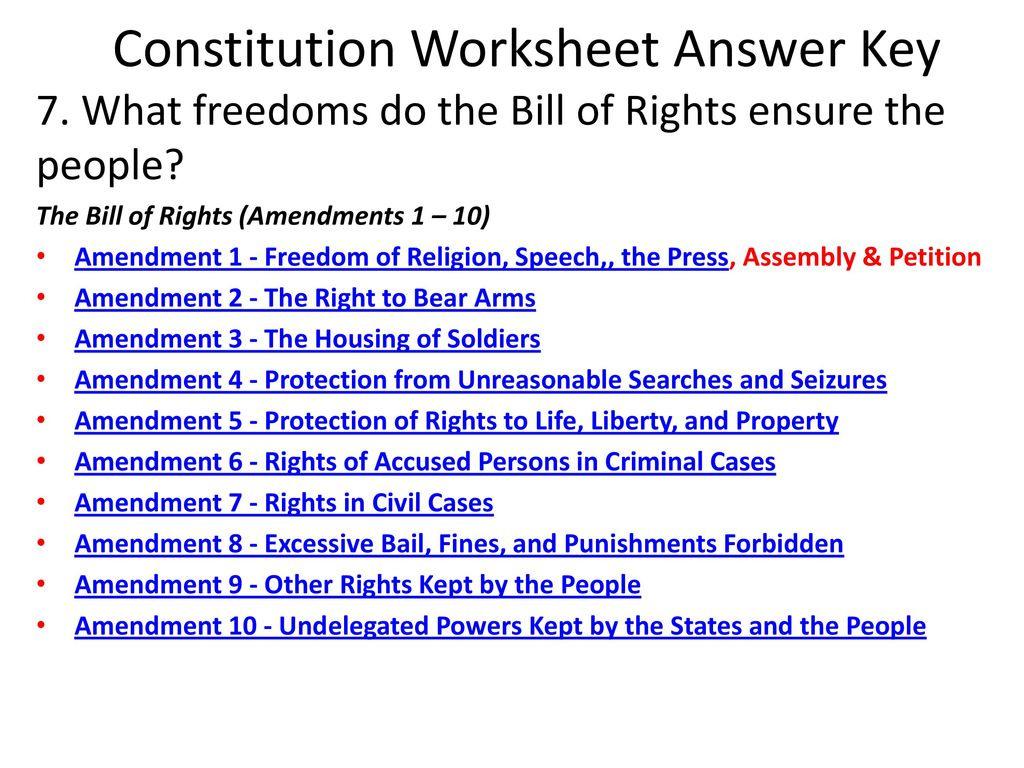Constitution Worksheet Answer Key Ppt Download