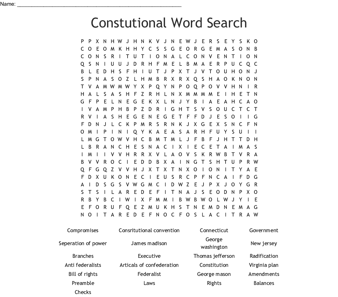 Constitutional Convention Word Search Word