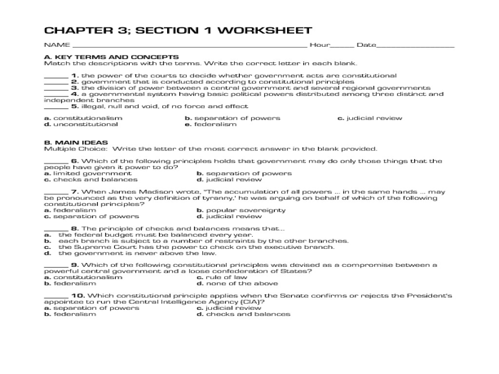 Seven Principles Of The Constitution Worksheet Answers