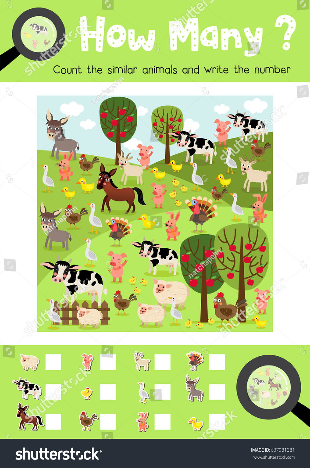 Counting Game Farm Animals Preschool Kids