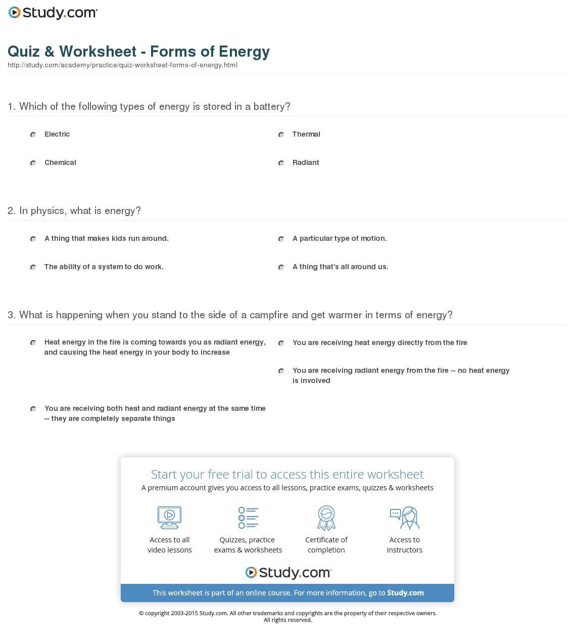 Forms Of Energy Worksheet Answers