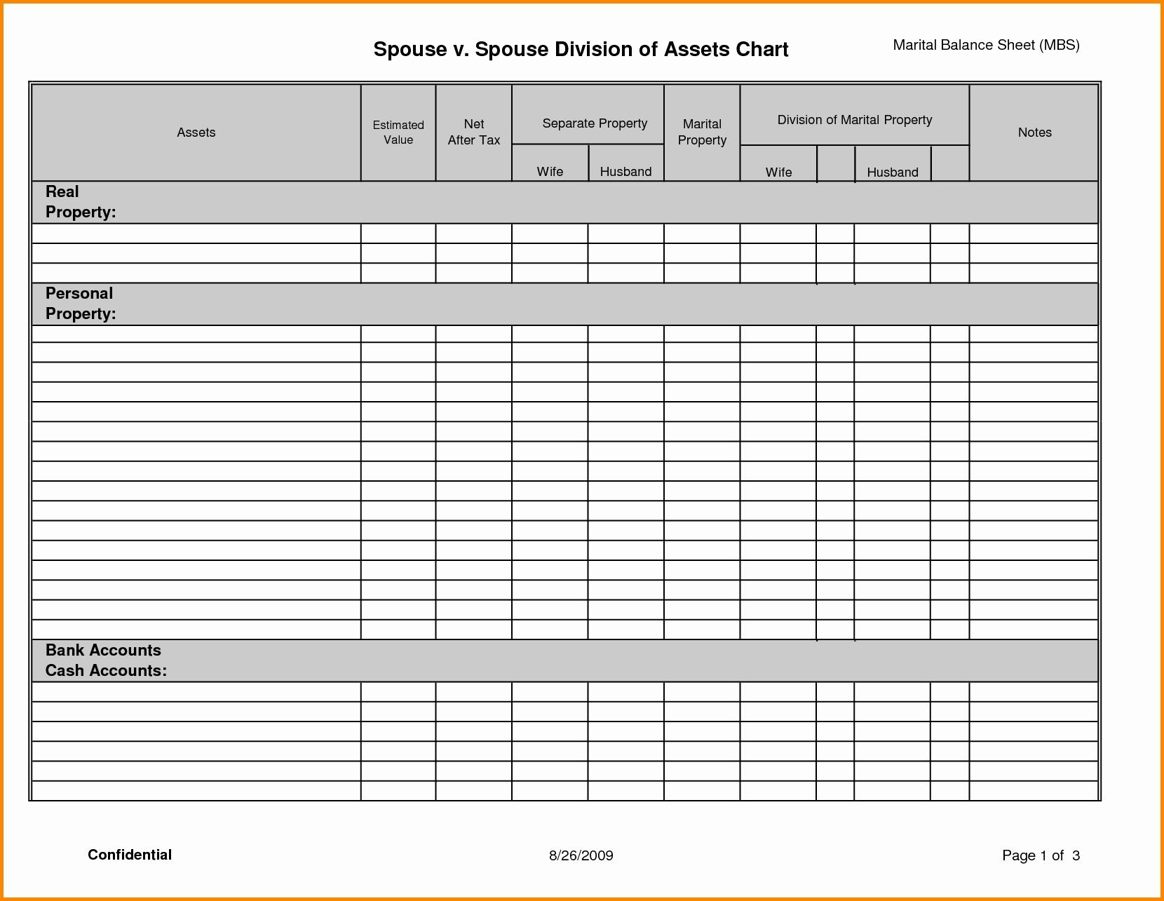 Divorce Assets And Liabilities Worksheet