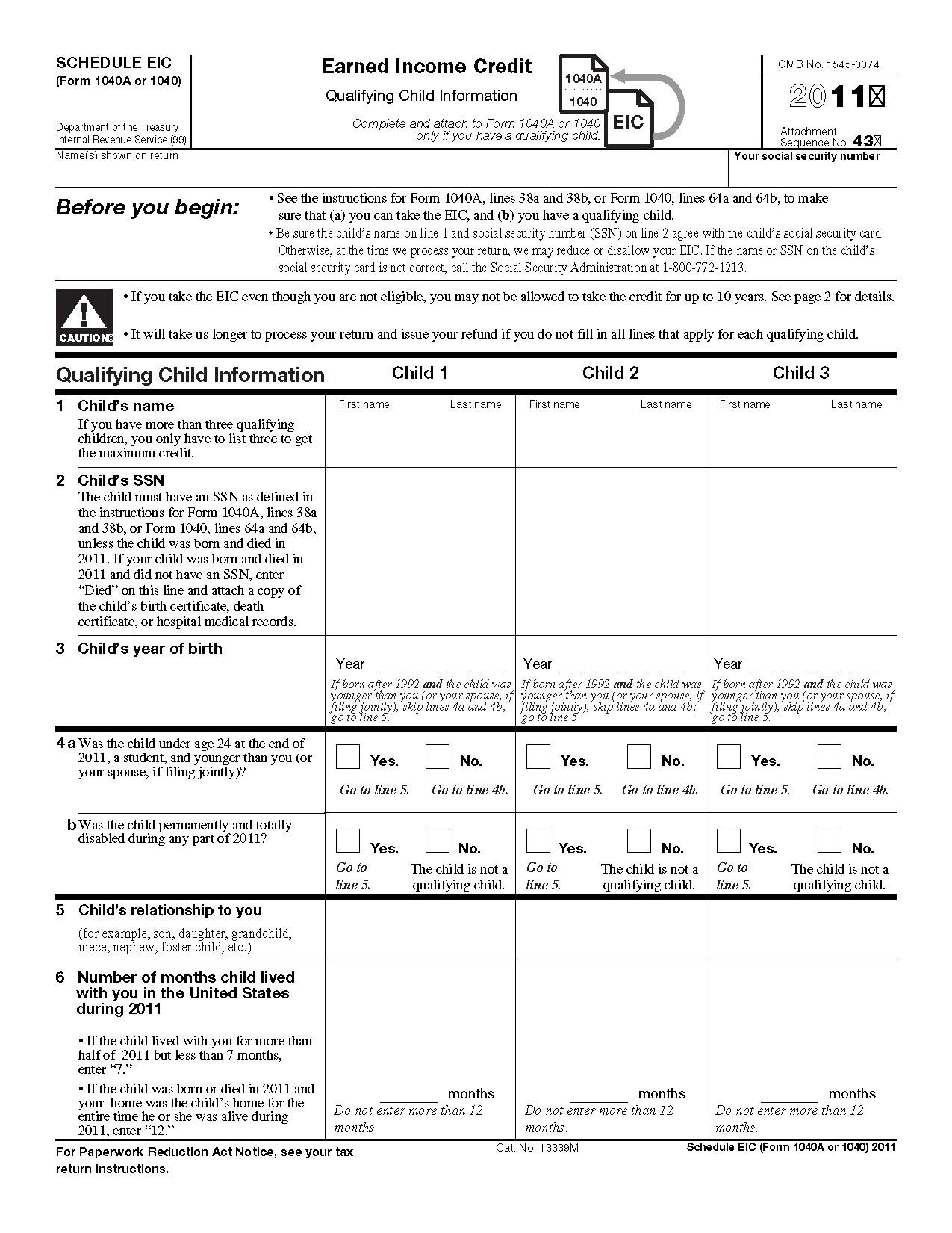 Earned Income Credit Worksheet Multiplication