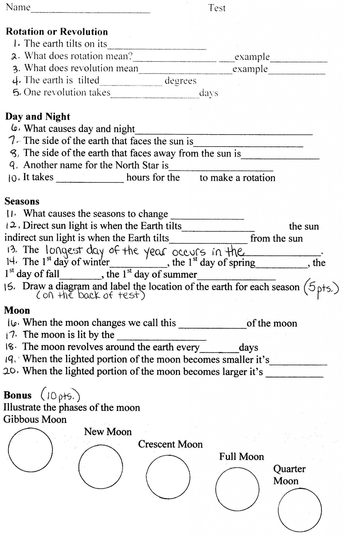Earth Science Worksheets High School