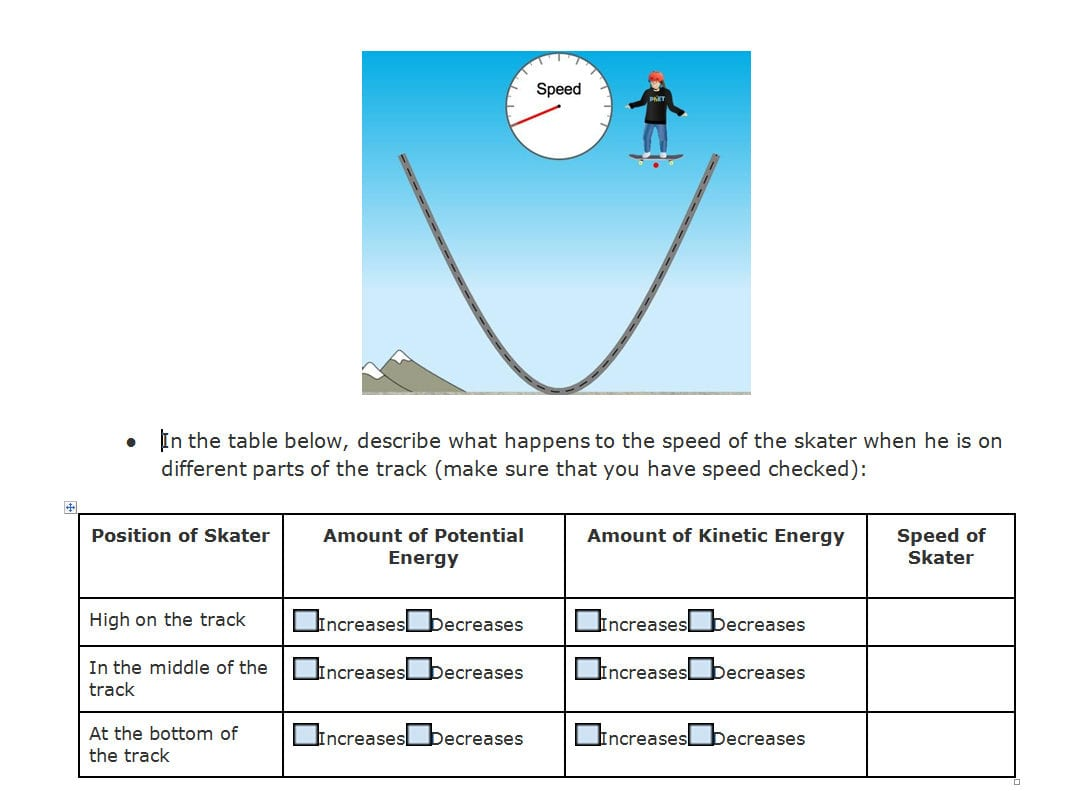 Energy Skate Park Worksheet Answers Lab Conservation Of At
