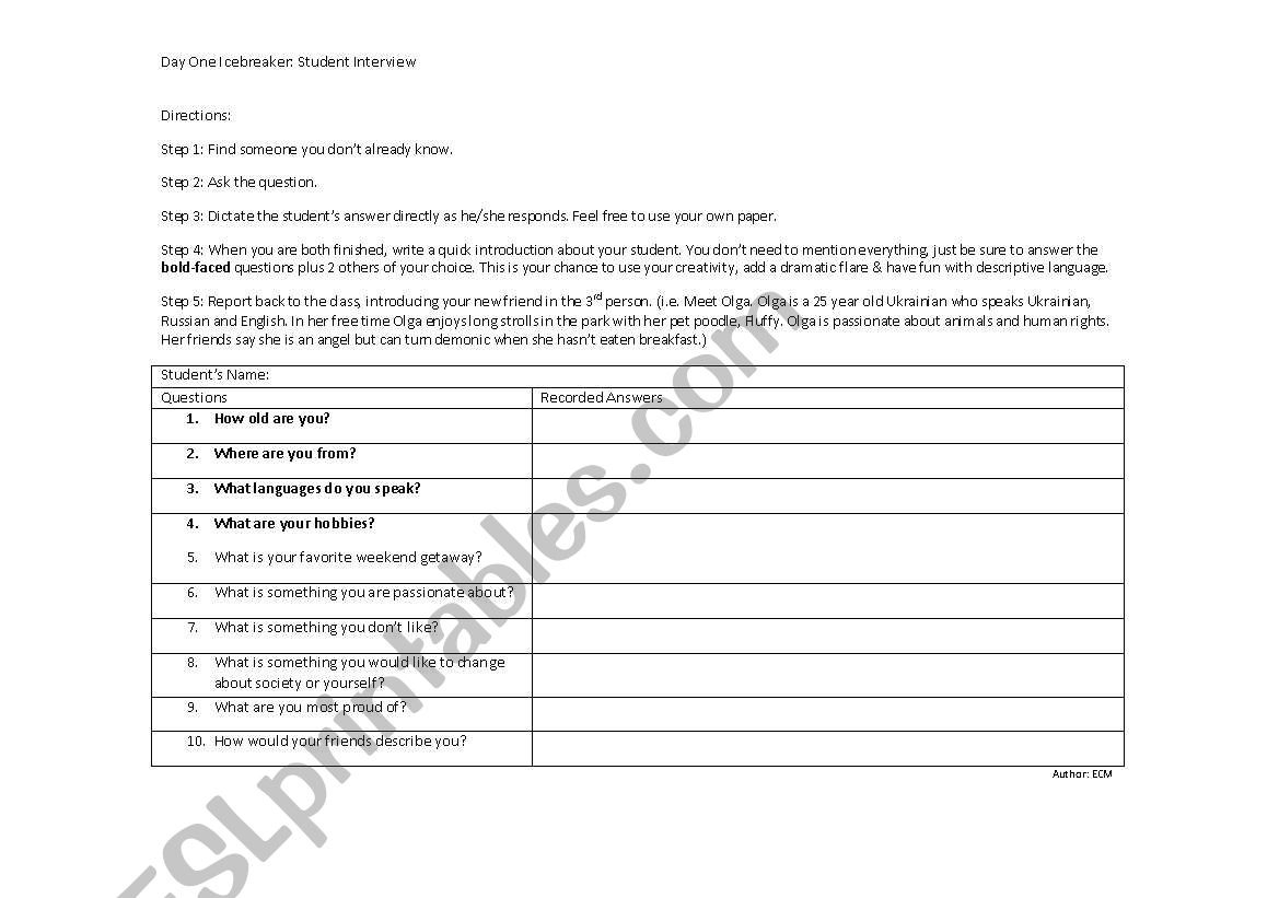 English Worksheets Rls New Student Interview