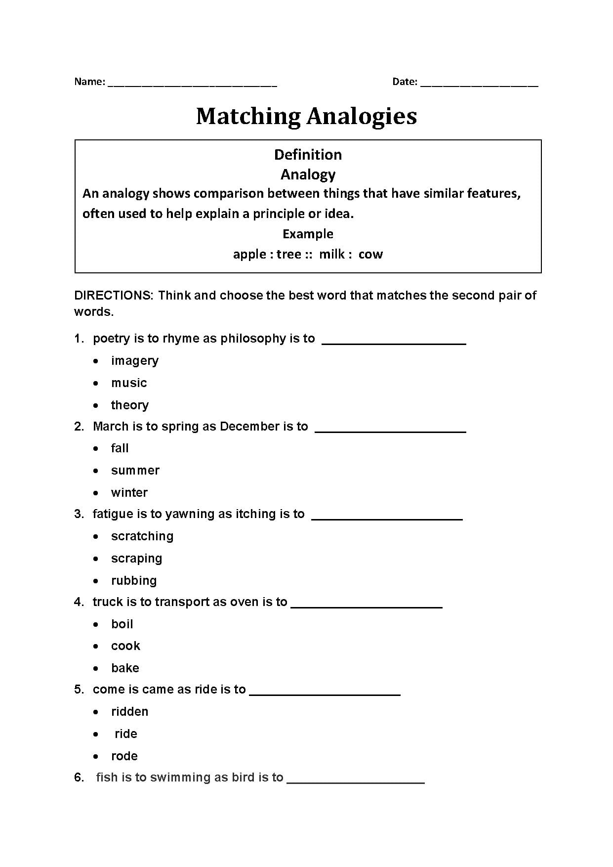 Ogies Worksheet With Answer Key