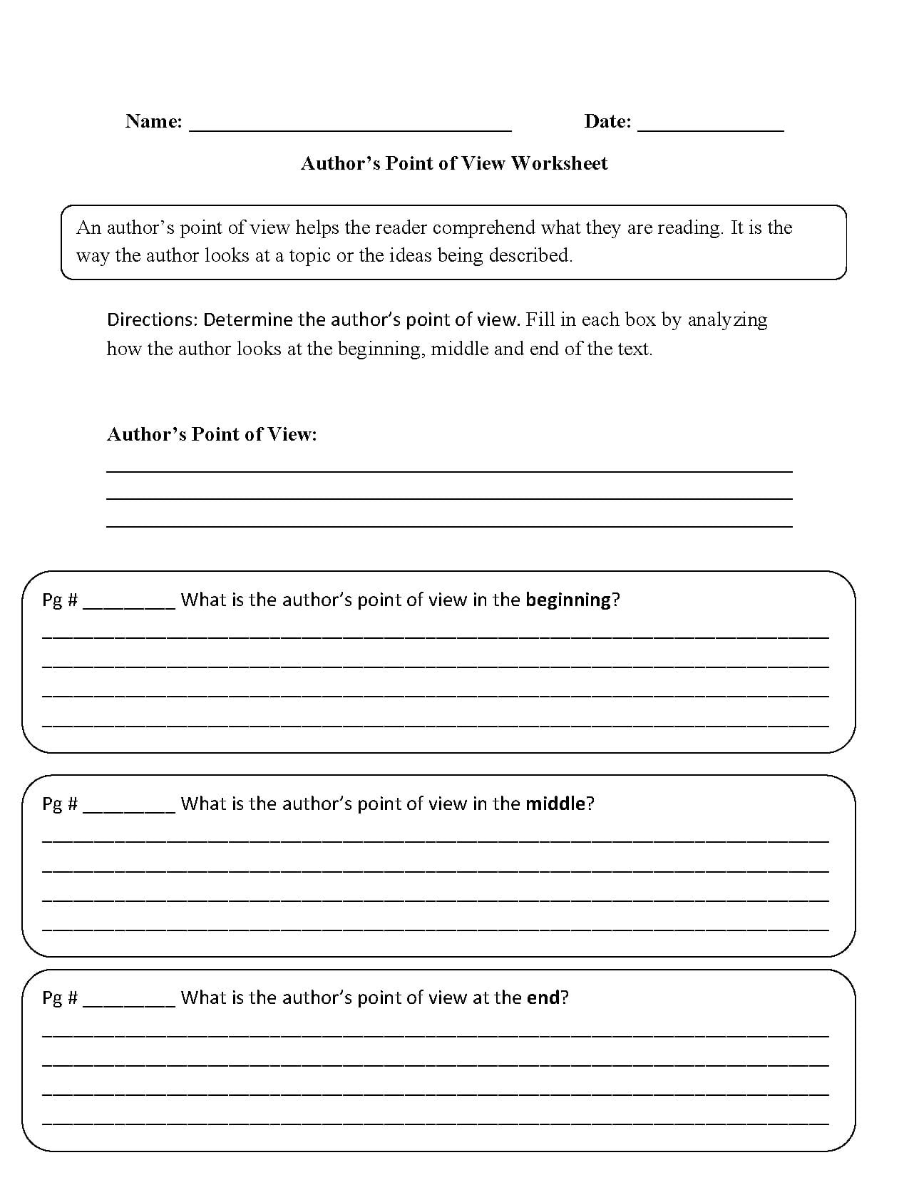 Point Of View Worksheets For Middle School