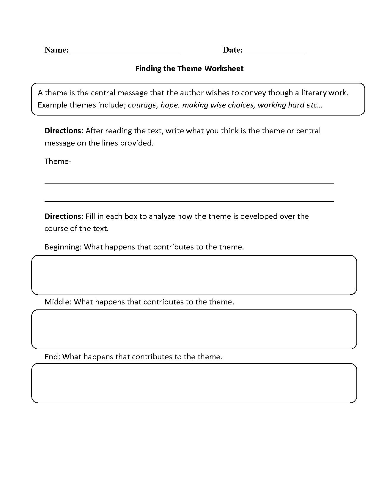 Englishlinx Theme Worksheets