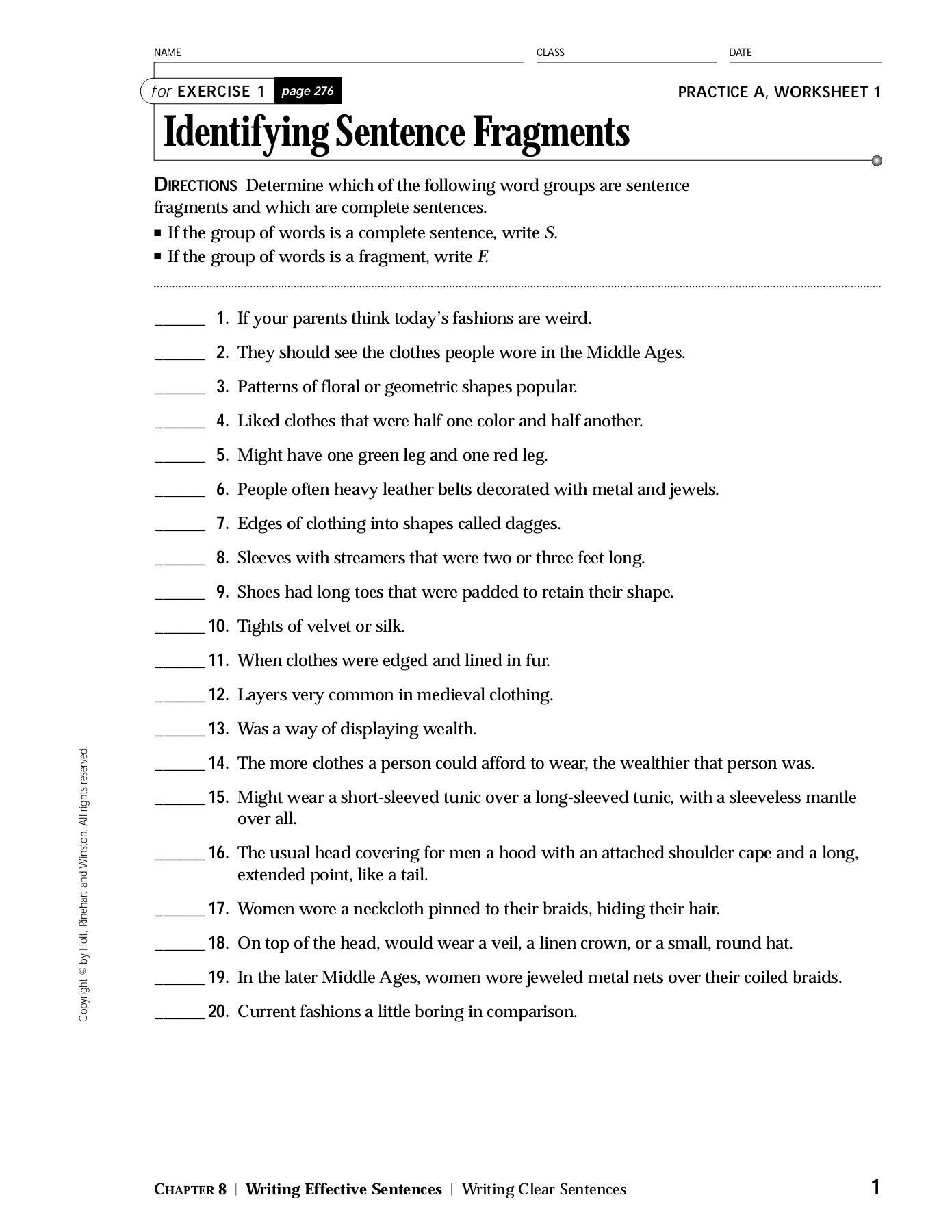 Sentence And Fragment Worksheet