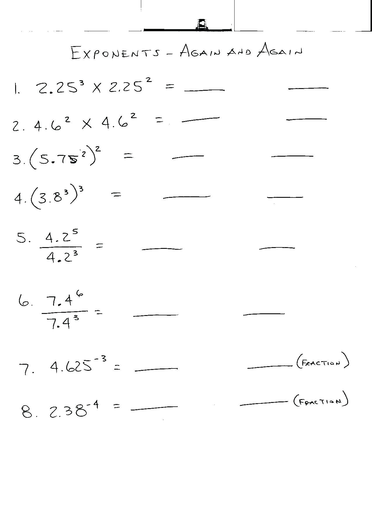 Exponents Worksheets Grade 7 Bluedotsheetco
