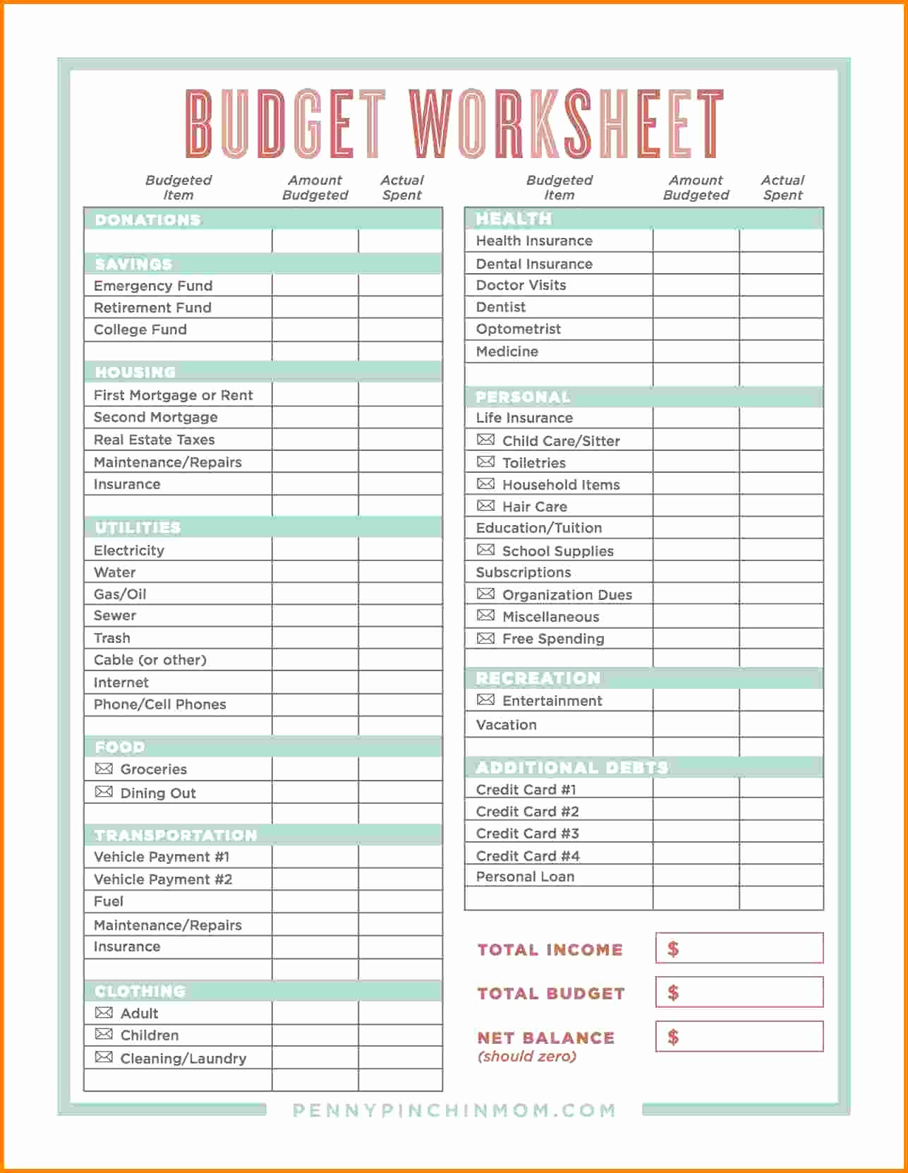 Family Budget Spreadsheetles Worksheet For College