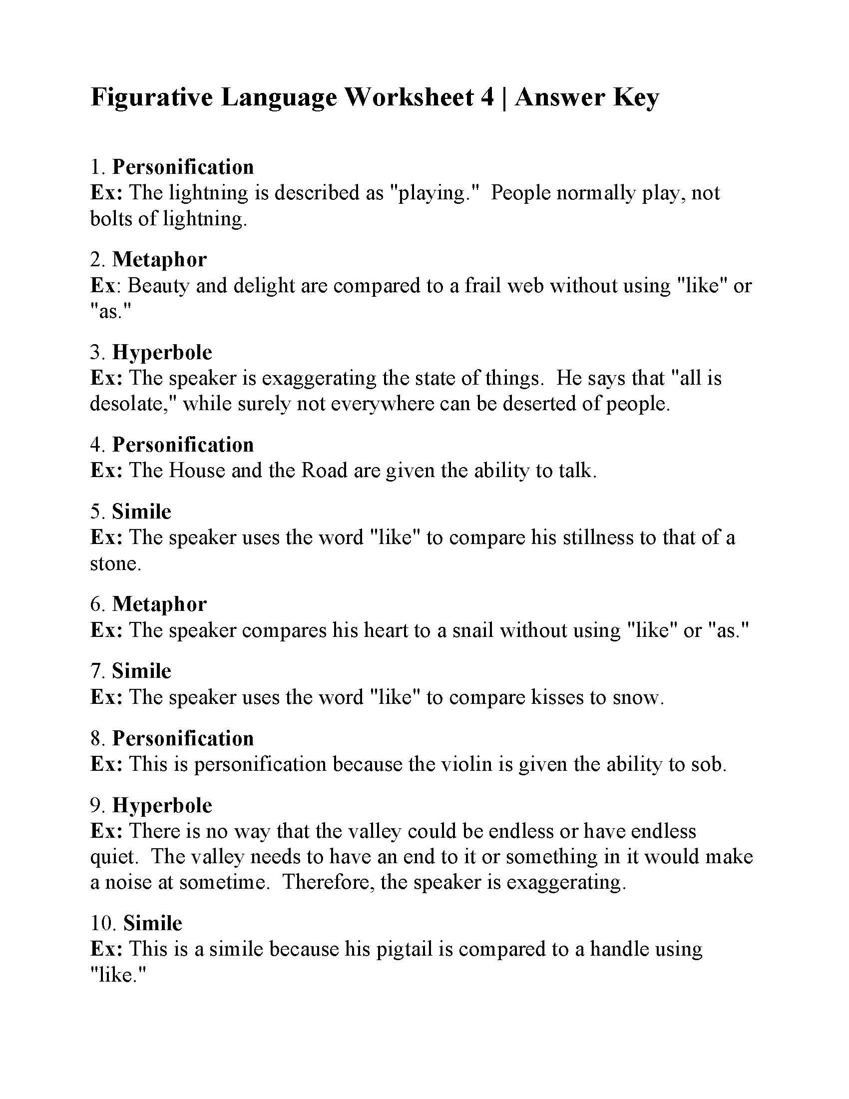 Figurative Language Worksheet 1