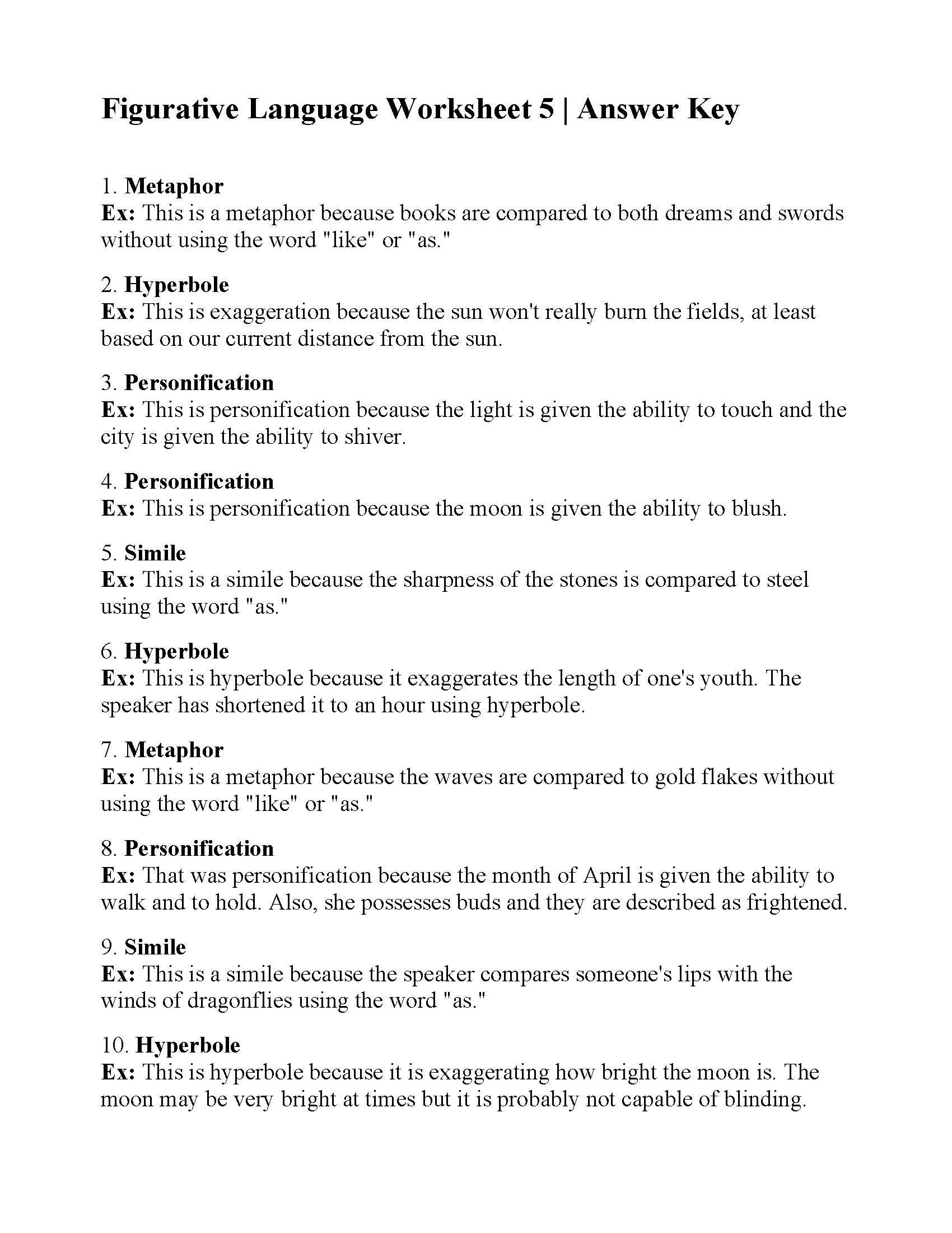 Figurative Language Worksheet Yooob
