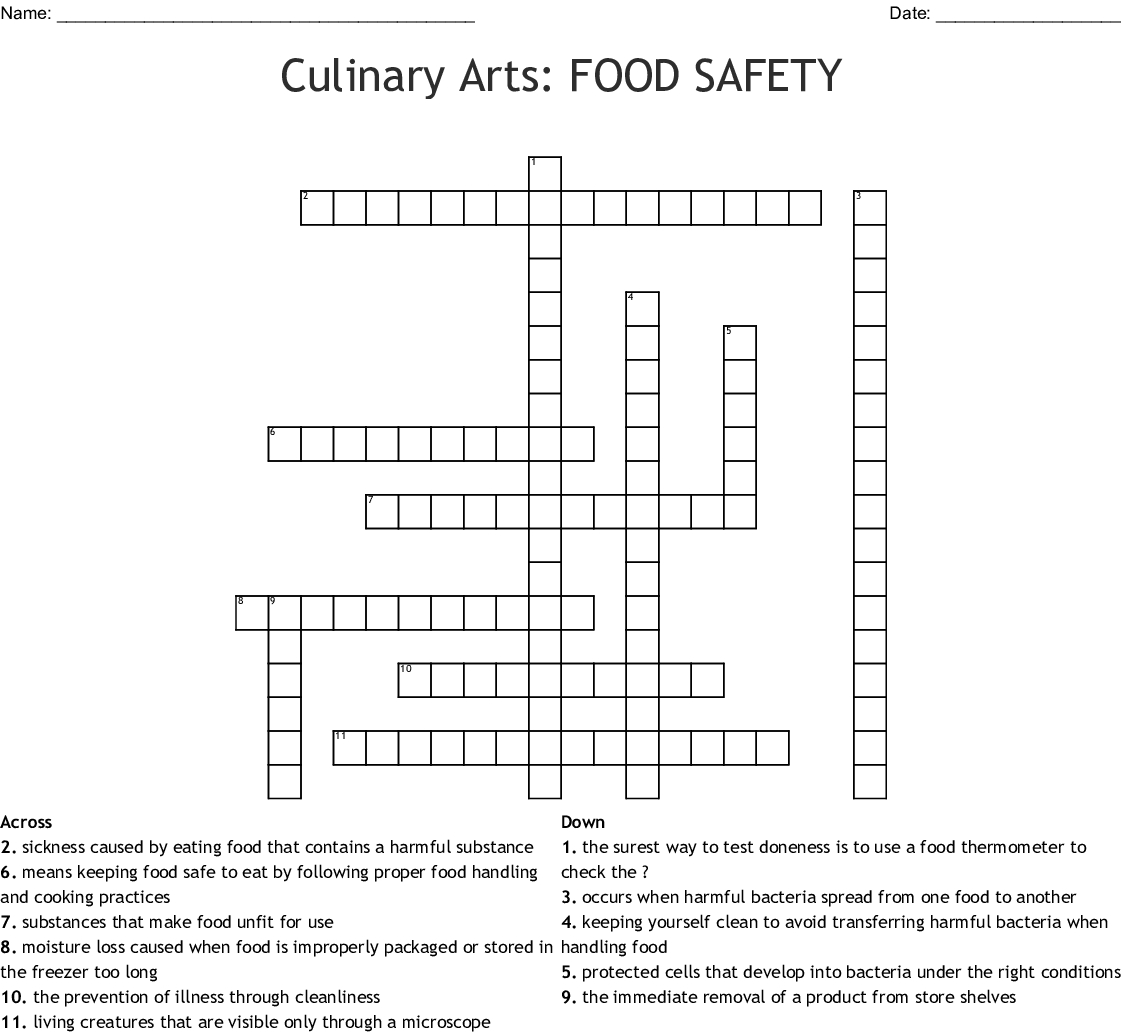 Food Safety And Sanitation Crossword Word