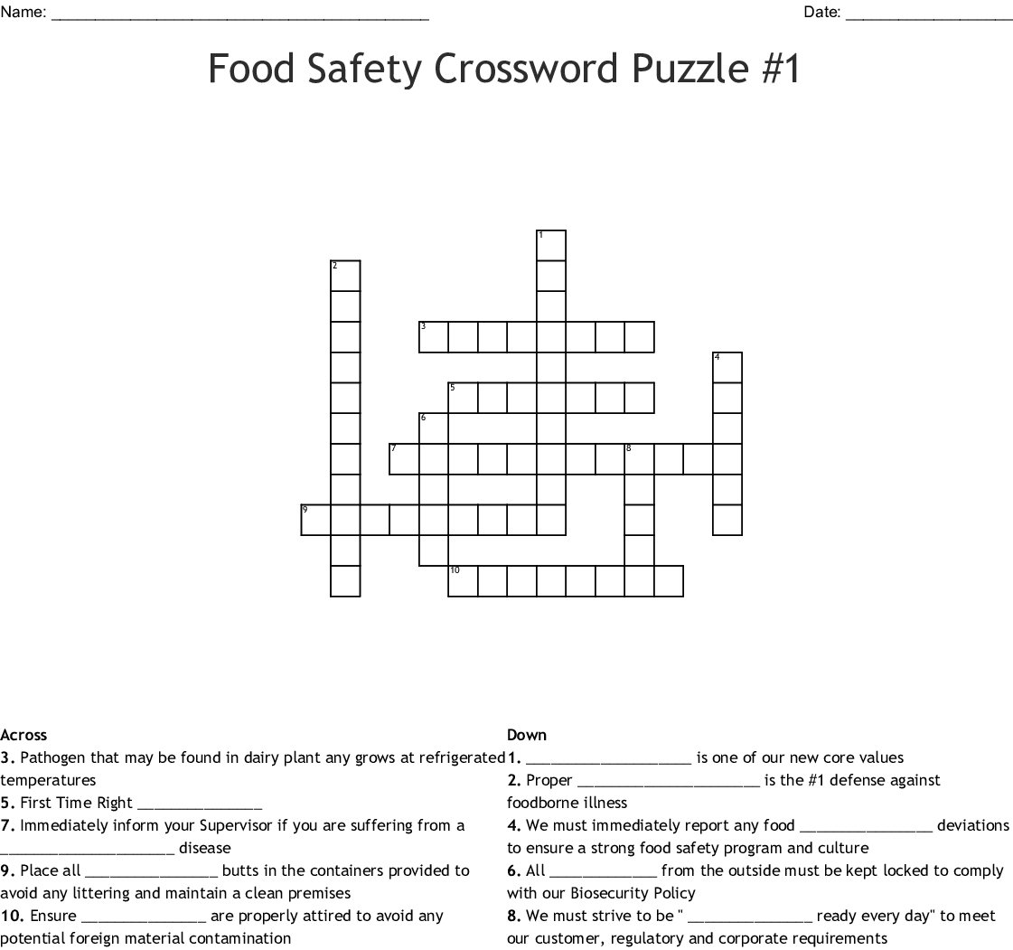 Food Safety Crossword Puzzle 1 Word