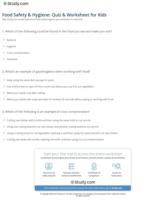 Food Safety Hygiene Quiz Worksheet For Kids Study