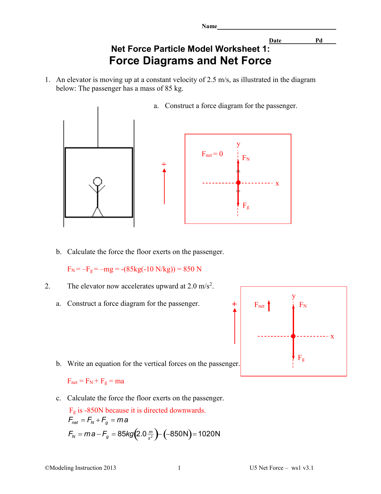 Force Diagrams Worksheet Answers