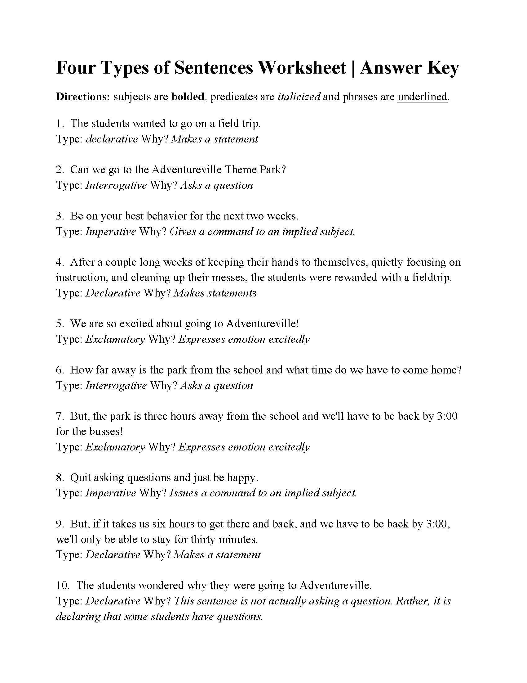 Kinds Of Sentences Worksheet