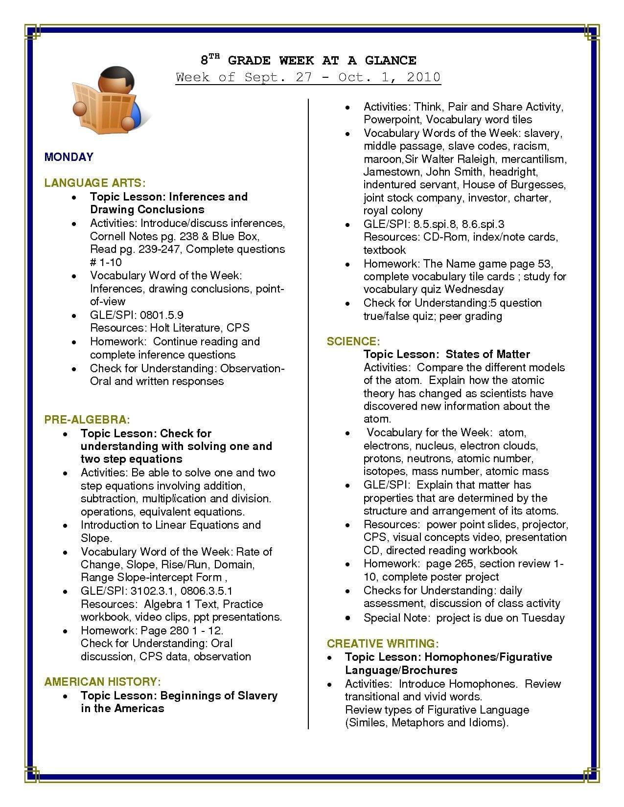 Free Printable 8th Grade Reading Comprehension Worksheets
