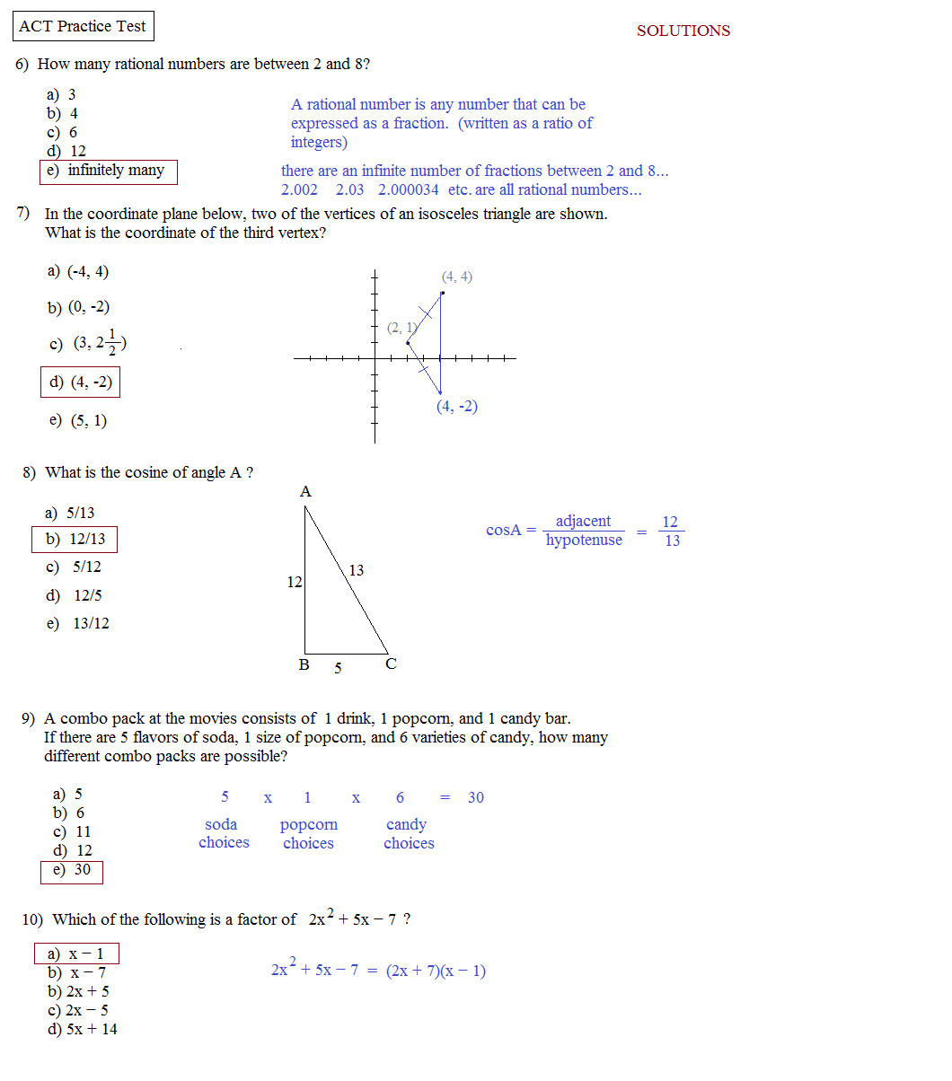 Act Math Practice Worksheets