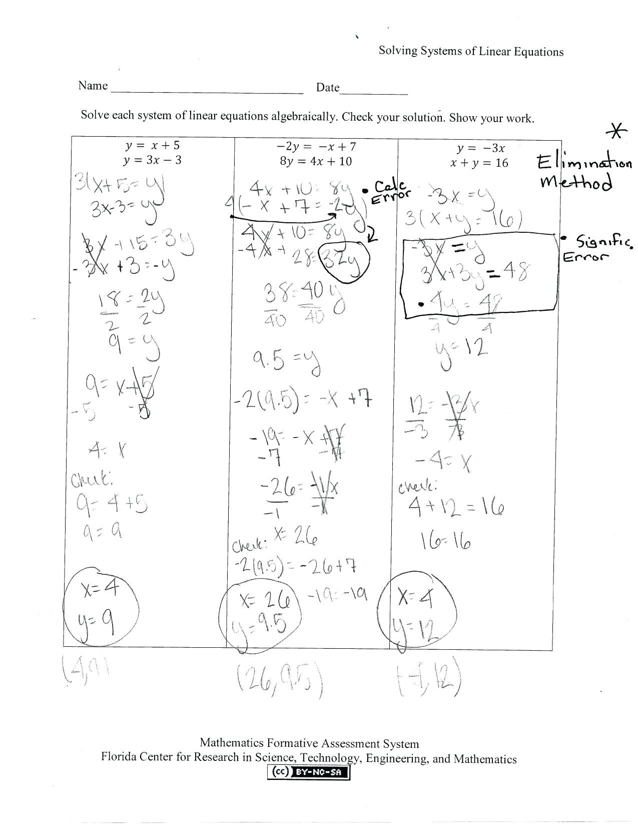 Solving Systems Of Equations By Graphing Worksheet Answers