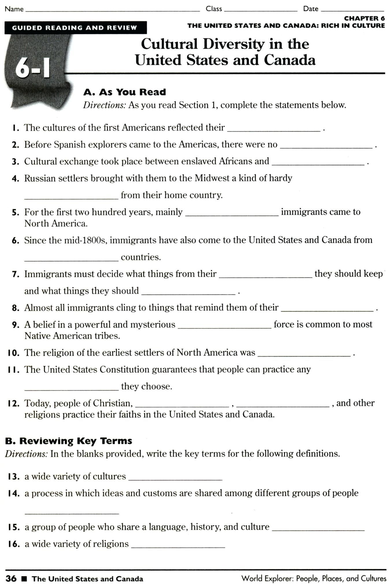 Freedom Of Religion Worksheet Answers