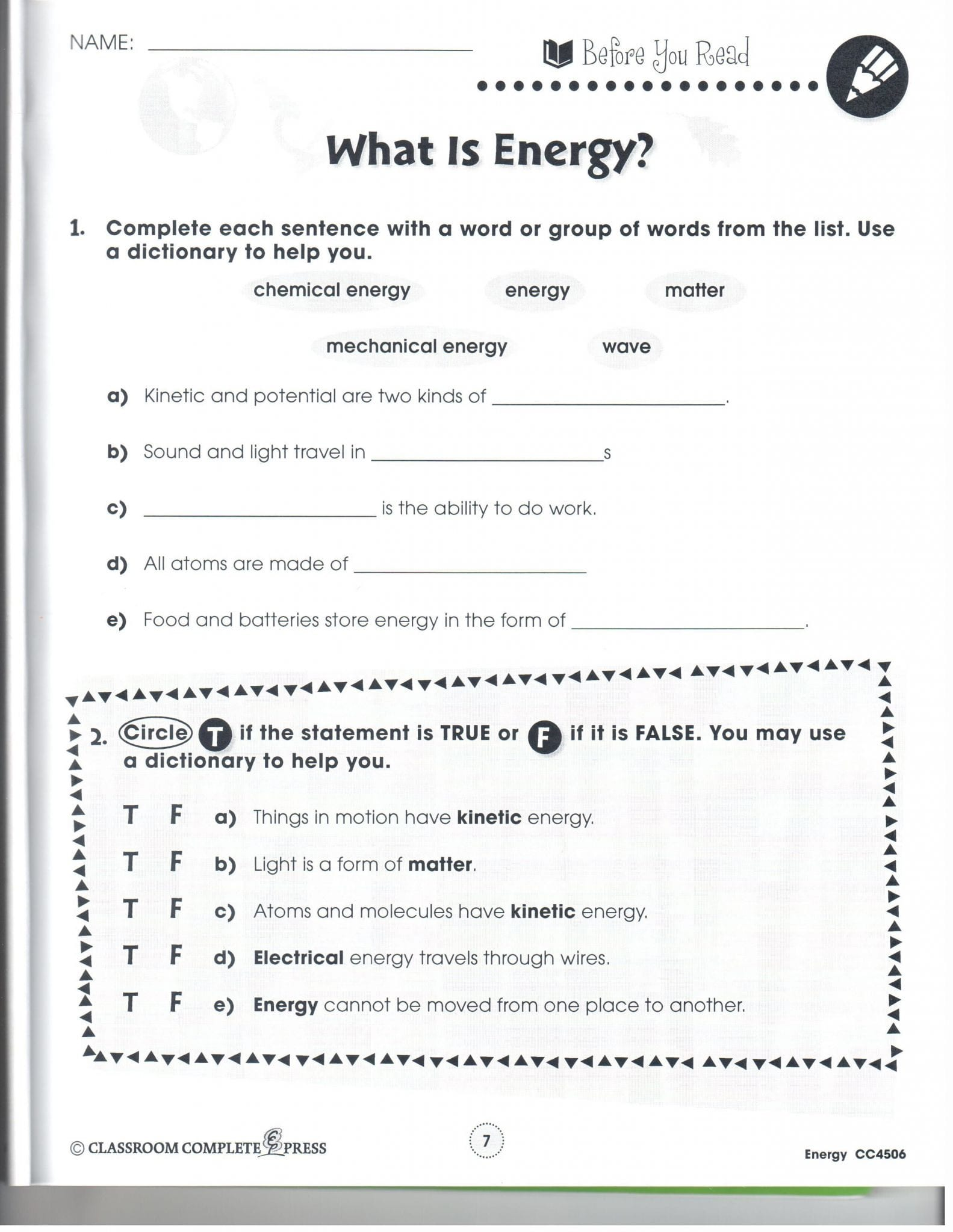 Friction And Gravity Lesson Quiz Worksheet