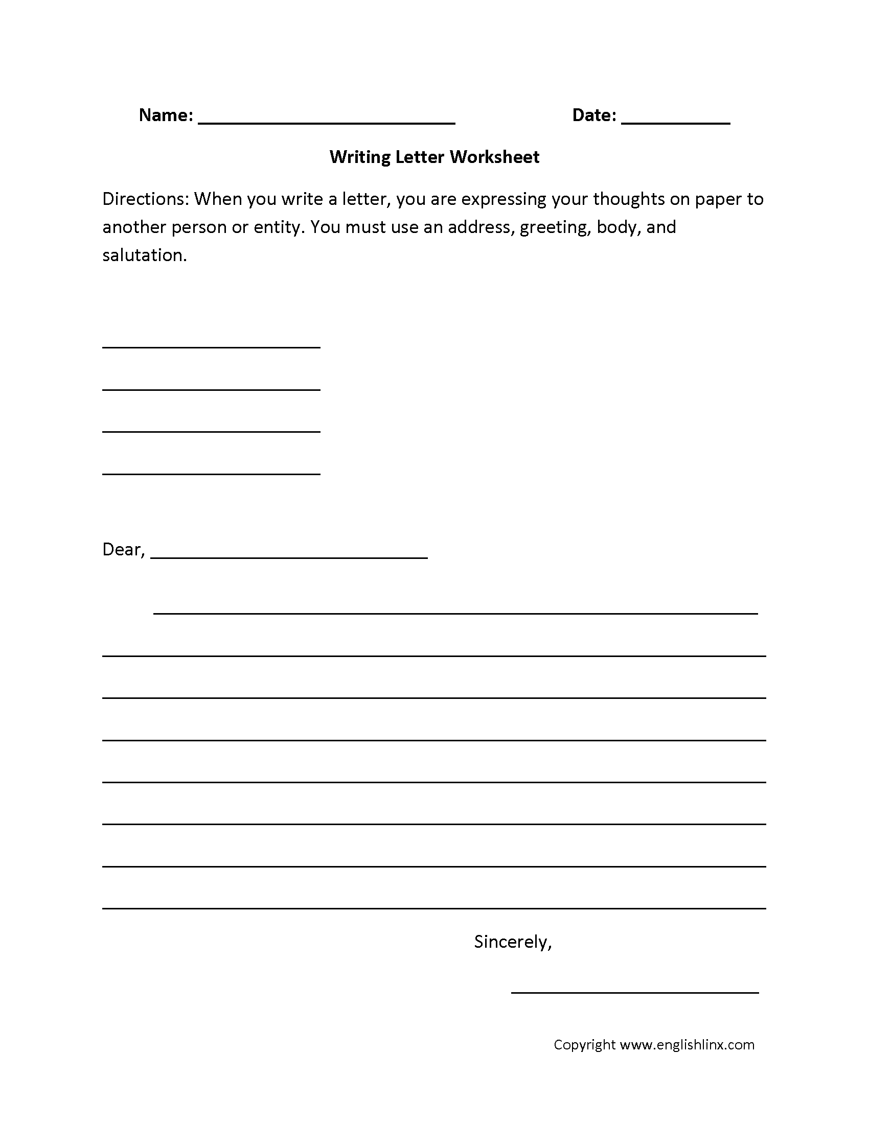7th Grade Writing Worksheets