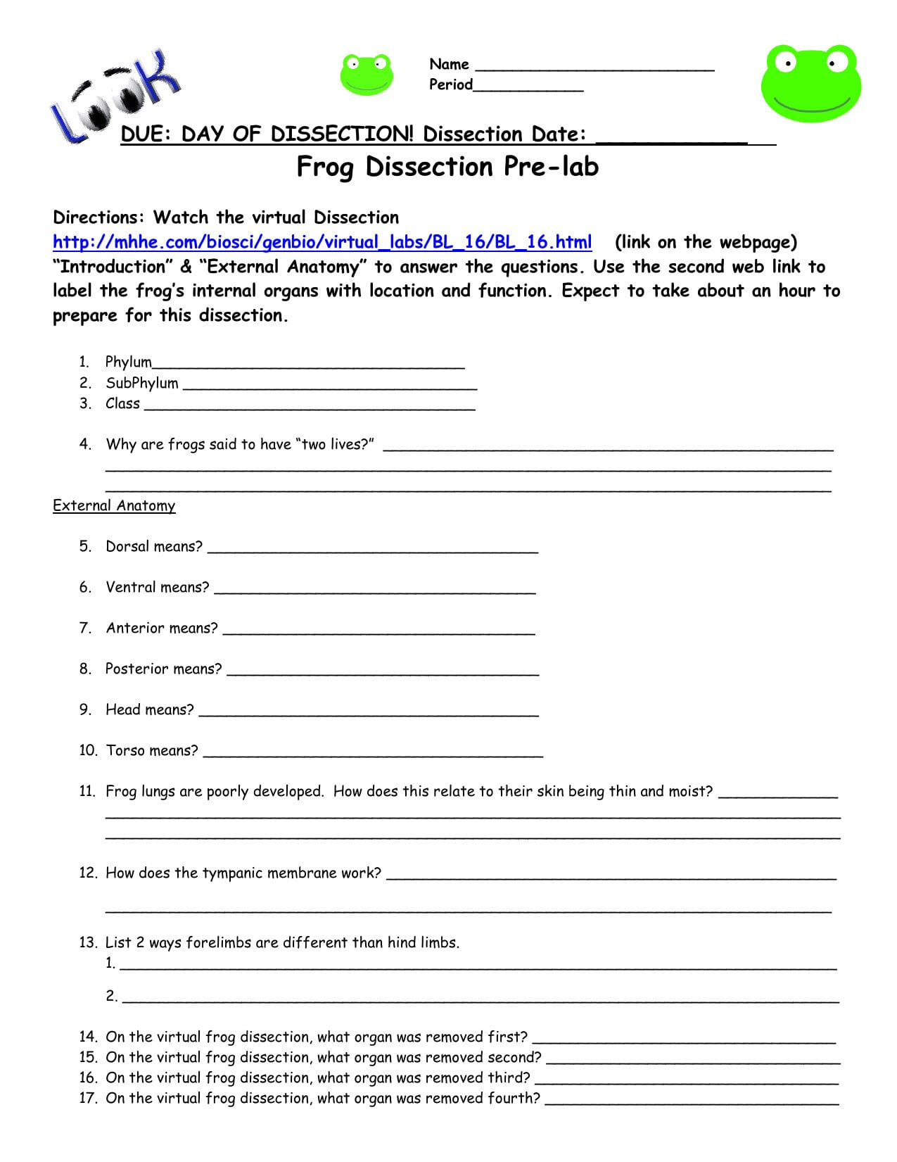 Frog Dissection Pre Lab Worksheet Answer Key