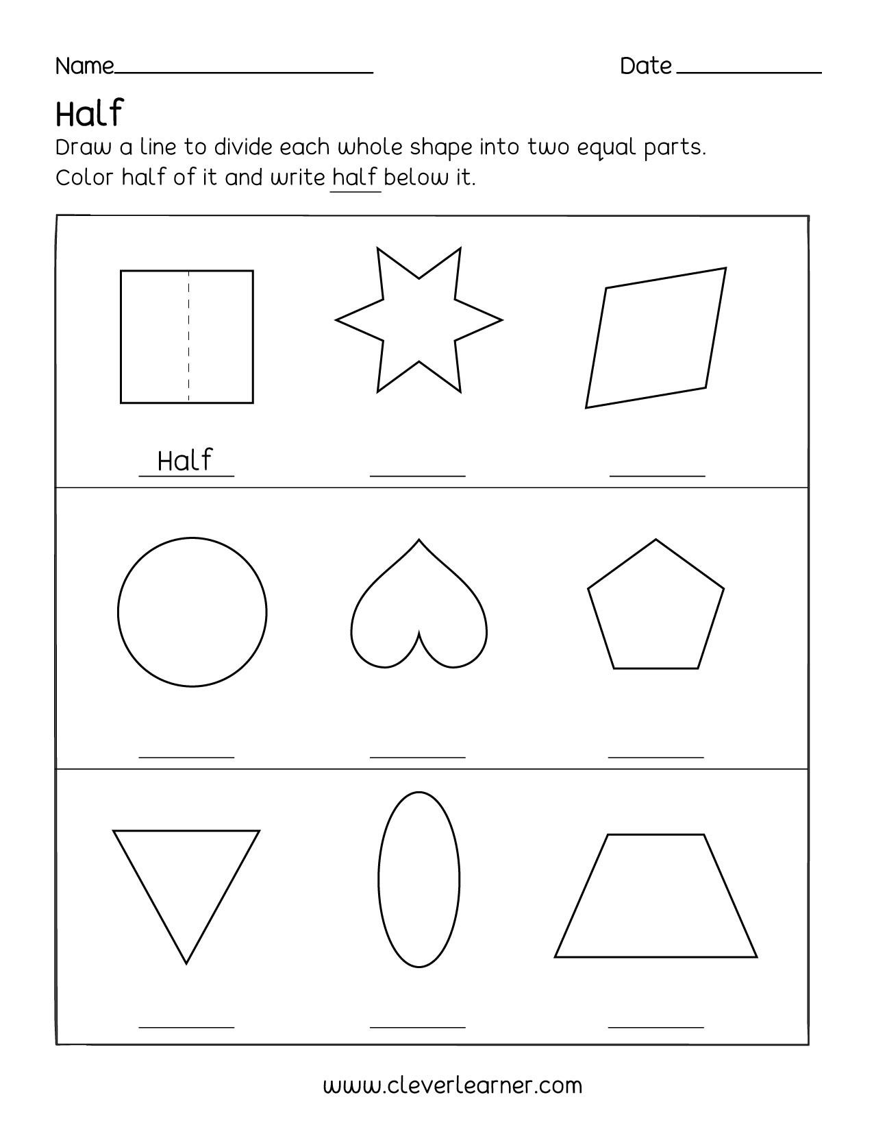 Fun Activity On Fractions Half 12 Worksheets For Children