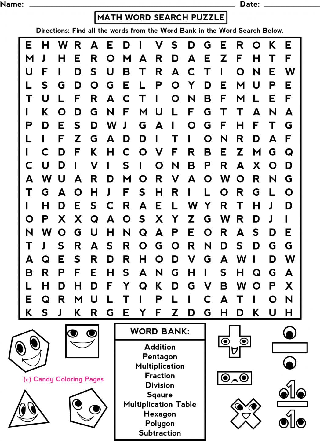 Fun Math Worksheets Middle School Free