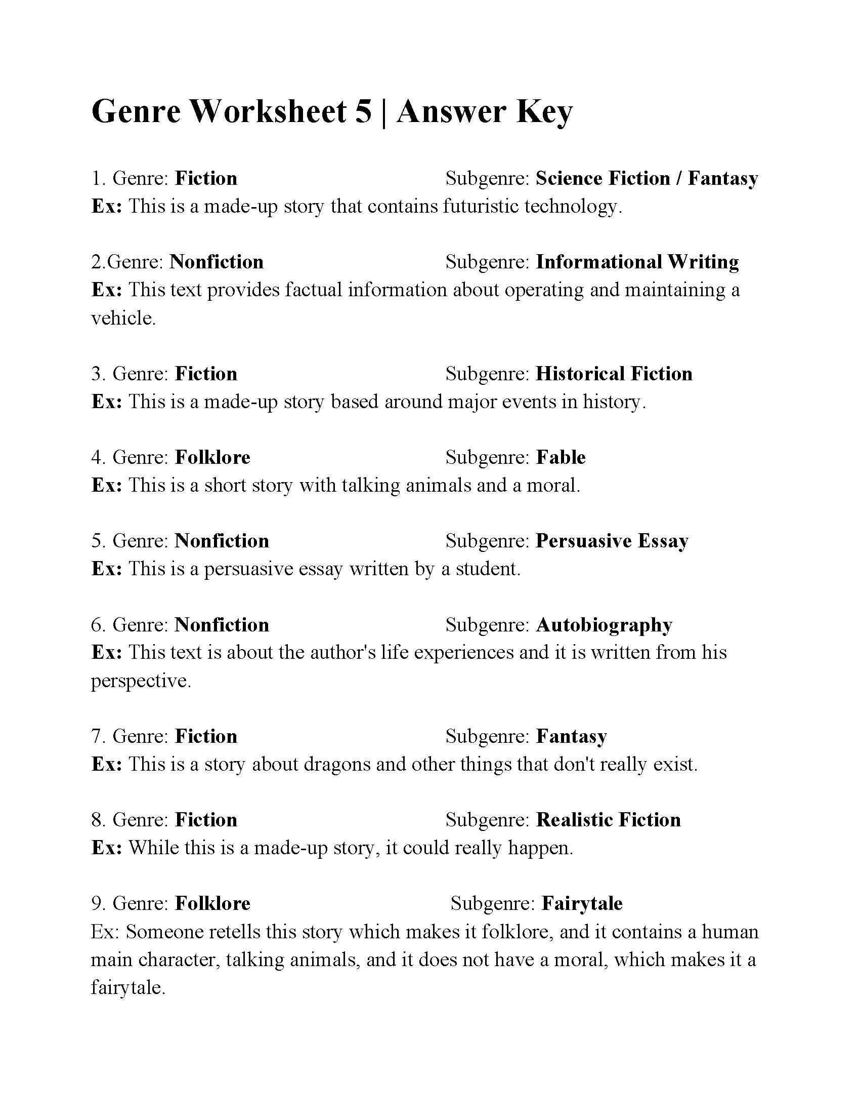 Identifying Genre And Subgenre Worksheet