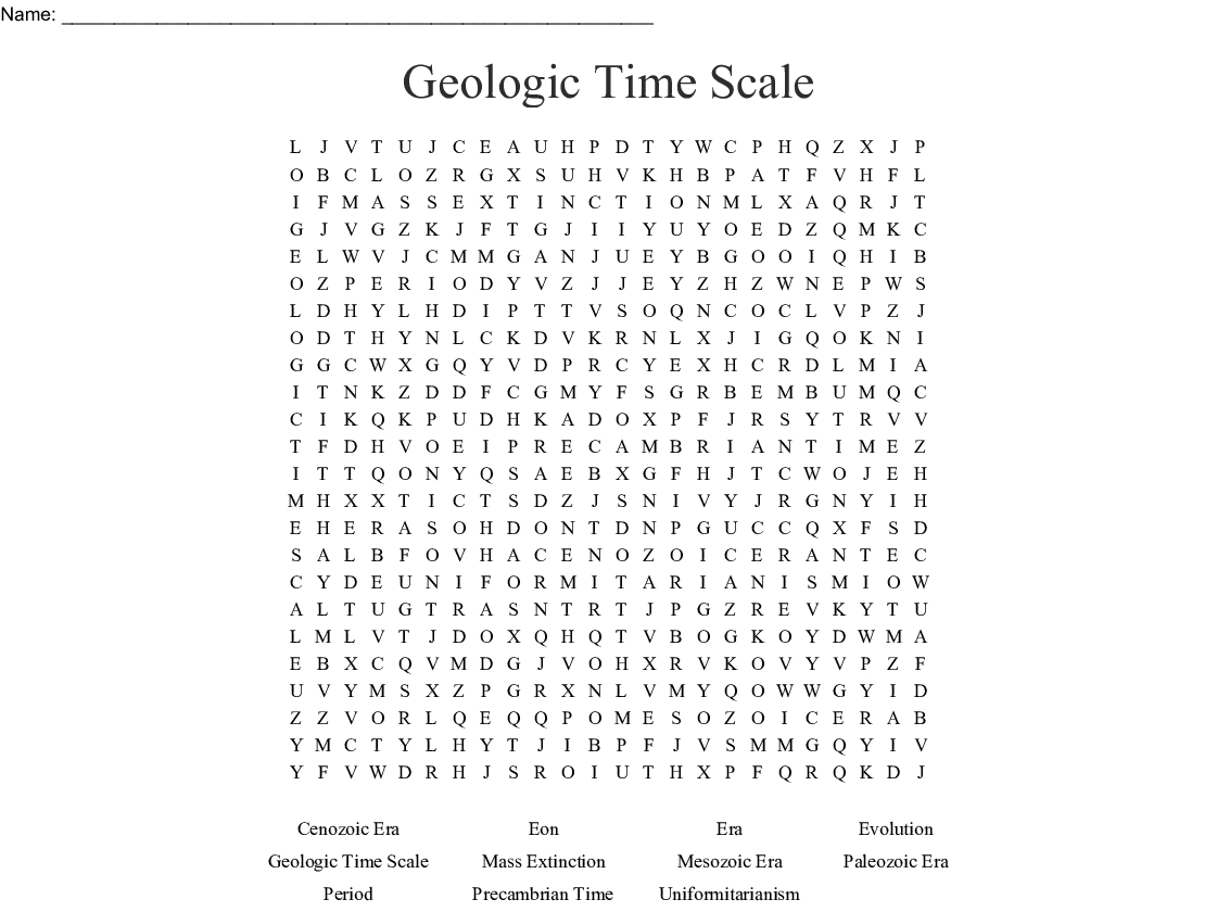 Geologic Time Scale Word Search Word